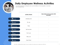 Health Daily Employee Wellness Activities Ppt Infographic Template Templates PDF