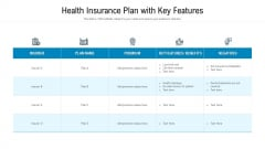 Health Insurance Plan With Key Features Ppt PowerPoint Presentation File Slide Download PDF