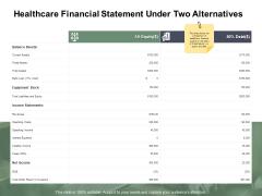 Healthcare Financial Statement Under Two Alternatives Ppt PowerPoint Presentation Inspiration Demonstration