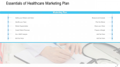 Healthcare Management Essentials Of Healthcare Marketing Plan Ppt File Background Designs PDF