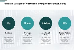 Healthcare Management KPI Metrics Showing Incidents Length Of Stay Ppt PowerPoint Presentation Layouts Graphic Images