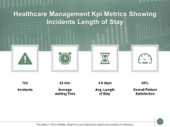Healthcare Management Kpi Metrics Showing Incidents Length Of Stay Ppt PowerPoint Presentation Layout