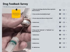 Healthcare Merchandising Drug Feedback Survey Ppt Infographics Portfolio PDF