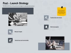 Healthcare Merchandising Post Launch Strategy Ppt Icon Graphics PDF