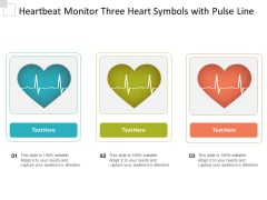 Heartbeat Monitor Three Heart Symbols With Pulse Line Ppt PowerPoint Presentation Icon Background