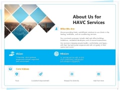 Heating Ventilation And Air Conditioning Installation About Us For HAVC Services Ppt Infographics Show PDF