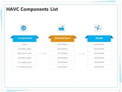 Heating Ventilation And Air Conditioning Installation HAVC Components List Ppt Outline Guidelines PDF
