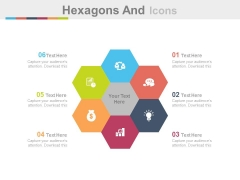Hexagons And Icons For Corporate Marketing Powerpoint Template