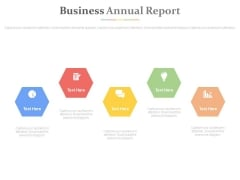Hexagons For Finance Annual Report Powerpoint Slides