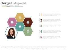 Hexagons Infographics With Team Leader Powerpoint Slides
