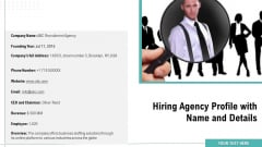 Hiring Agency Profile With Name And Details Ppt Slides Pictures PDF