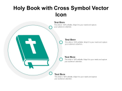 Holy Book With Cross Symbol Vector Icon Ppt PowerPoint Presentation File Outfit PDF