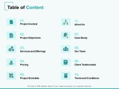 Home Remodeling Proposal Table Of Content Ppt PowerPoint Presentation Summary Master Slide PDF