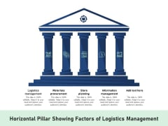 Horizontal Pillar Showing Factors Of Logistics Management Ppt PowerPoint Presentation Icon Design Templates PDF