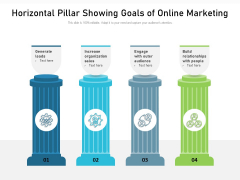 Horizontal Pillar Showing Goals Of Online Marketing Ppt PowerPoint Presentation Gallery Objects PDF