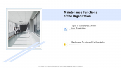 Hospital Management System Maintenance Functions Of The Organization Icons PDF