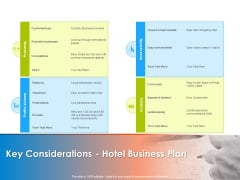 Hotel And Tourism Planning Key Considerations Hotel Business Plan Background PDF