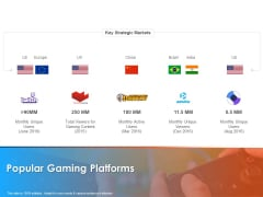 Hotel And Tourism Planning Popular Gaming Platforms Background PDF