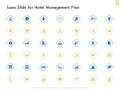 Hotel Management Plan Icons Slide For Hotel Management Plan Pictures PDF