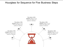 Hourglass For Sequence For Five Business Steps Ppt PowerPoint Presentation File Examples PDF