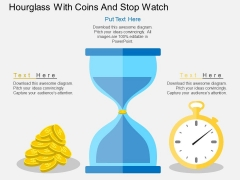 Hourglass With Coins And Stop Watch Powerpoint Template