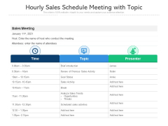 Hourly Sales Schedule Meeting With Topic Ppt PowerPoint Presentation Gallery Graphics Tutorials PDF