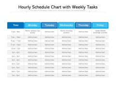 Hourly Schedule Chart With Weekly Tasks Ppt PowerPoint Presentation File Portfolio PDF