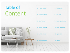 House Decoration Proposal Table Of Content Ppt Pictures Layouts PDF
