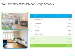 House Decoration Proposal Your Investment For Interior Design Services Ppt Infographics Slide Portrait PDF