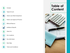 Housing Mortgage Proposal Table Of Content Ppt Gallery Gridlines PDF