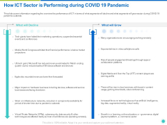 How ICT Sector Is Performing During COVID 19 Pandemic Ppt Slides Outline PDF
