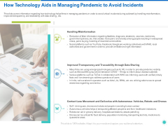 How Technology Aids In Managing Pandemic To Avoid Incidents Ppt Slides Summary PDF