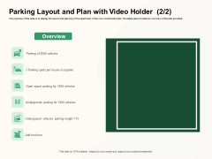 How To Effectively Manage A Construction Project Parking Layout And Plan With Video Holder Occupants Brochure PDF