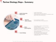How To Strengthen Relationships With Clients And Partners Partner Strategy Steps Summary Ppt Show Background PDF