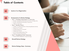 How To Strengthen Relationships With Clients And Partners Table Of Contents Ppt Icon Show PDF