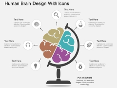Human Brain Design With Icons Powerpoint Template