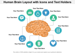 Human Brain Layout With Icons And Text Holders Ppt PowerPoint Presentation Infographic Template Mockup PDF