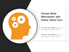 Human Brain Mechanism With Gears Vector Icon Ppt PowerPoint Presentation Gallery Shapes PDF
