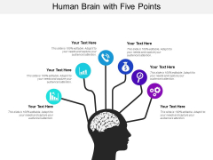 Human Brain With Five Points Ppt PowerPoint Presentation File Inspiration PDF