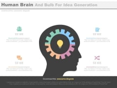 Human Brain With Gear And Bulb Inside Powerpoint Template