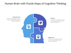 Human Brain With Puzzle Steps Of Cognitive Thinking Ppt PowerPoint Presentation Portfolio Designs Download PDF
