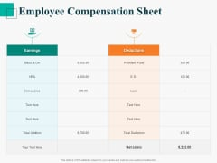 Human Capital Management Procedure Employee Compensation Sheet Ppt Professional Layout PDF