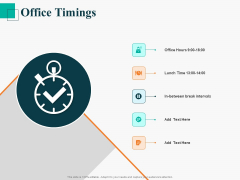 Human Capital Management Procedure Office Timings Ppt Icon Elements PDF