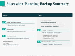 Human Capital Management Procedure Succession Planning Backup Summary Pictures PDF