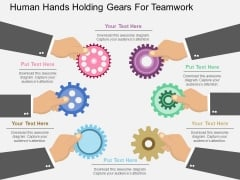 Human Hands Holding Gears For Teamwork Powerpoint Template