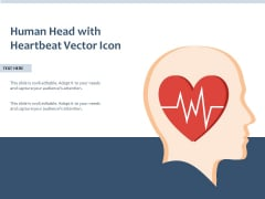 Human Head With Heartbeat Vector Icon Ppt PowerPoint Presentation Gallery Tips PDF