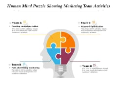 Human Mind Puzzle Showing Marketing Team Activities Ppt PowerPoint Presentation Icon Outline PDF