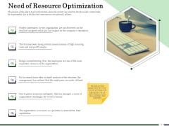 Human Resource Capability Enhancement Need Of Resource Optimization Ppt Inspiration Example Topics PDF