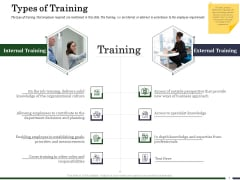 Human Resource Capability Enhancement Types Of Training Ppt Infographic Template Shapes PDF
