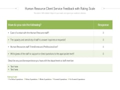 Human Resource Client Service Feedback With Rating Scale Ppt PowerPoint Presentation Visual Aids Gallery PDF